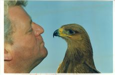 Mr Bruce Berry with a African Tawny Eagle.