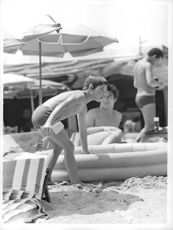 Brigitte Bardot's son, Nicholas Cherrier having fun at the beach.