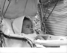 Baby Crown Prince Naruhito in his carrier quietly stare.