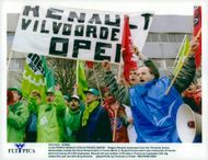 Belgian Renault employees from Vilvoorde factory demonstrate outside Douai Renault the factory in France