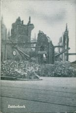 View of a ruined church building during war. Holland.
