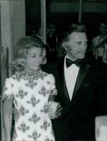 Kirk Douglas with his wife in film festival in Cannes.