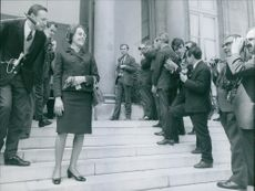 Press people taking photograph of Mary Magdalene Dienesch. 1968.
