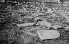 Stone tablets scattered on the ground in Israel.