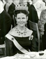 Portrait image of Queen Silvia taken in connection with the Nobel dinner in 1978.