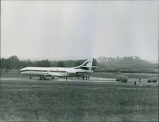 An airplane in field.