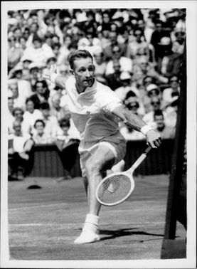 Rod Laver during the match against Ramanathan Krishnan in Wimbledon in 1961