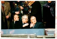 National Lottery: John Major & Albert Reynolds at Twickenham for the rugby match between england & Ireland.