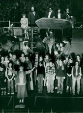 Donya Feuer (at the front) during the rehearsal at Göta Lejon