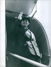 Andrei Gromyko waves his hand upon his arrival. 1959.