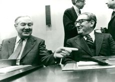 James Callaghan and Henry Kissinger at NATO meeting in Brussels