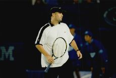 Andre Agassi competes in the Australian Open.