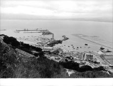 High angle view of harbour.