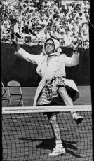 Tennis player Bobby Riggs speaks out at charity tournament