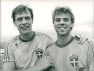 Peter Truedsson and Hans Eklund, football player Svenska Landslaget
