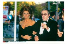 Actors Sophia Loren and Marcello Mastroianni at Telegatti