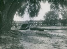 View of damaged boats lies on the ground.