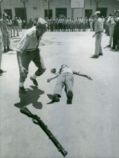 Egyptian soldiers in a training camp with camera men around.