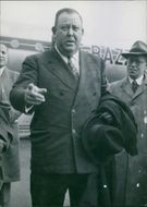 Trygve Lie arrival at the airport in Paris, 1951.