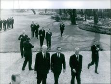 Maurice Harold Macmillan during his visit in Paris with hes group