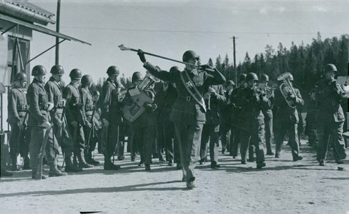 Air Defence Regiment soldiers on parade.