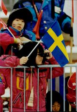 Winter OS Nagano Japan Japanese children watching the shooting