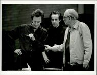 "Thommy Berggren, Peter Stormare and Ingmar Bergman at the rehearsal of ""Long Day Trip to Night"" at Dramaten"