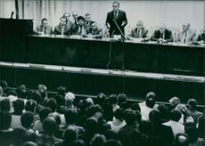 Geidar Aliyev, first Deputy Chairman of the USSR and a member of the politburo, addressing survivors of the Soviet Union's worst ever maritime disaster. 1986.