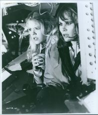 Karen Black as Chief-Stewardess Nancy Pryor in a scene froom the film Airport 1975, 1974.