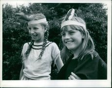 Two Jolly Indian squaws girls smiling. Madeleine Edwards Maureen Yates-Hobbs
