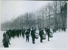 A marching band of boys in Norway. 1943.