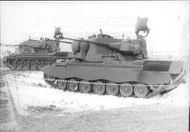 """First series of """"Gepard"""" armored vehicles during a demonstration of the West German army"""