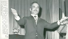 King Hussein of Jordan opening tales in parliament