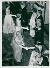 The princesses Sibylla (closest to the camera), Birgitta (in the middle) and Désirée greet the guests of the White Sea