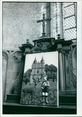Naive carving of St Hubert.