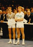 Stefan Edberg with German tennis player Boris Becker on his side.