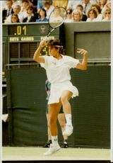 Argentine tennis player Gabriela Sabatini during match against Laura Gildemeister in Wimbledon 91