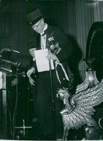 The Royal King of Sweden King Gustaf VI Adolf and Queen Louise at the solemn promotional act of the University's Great Aula, when the king was nominated for Philosophy Honorary Doctor.