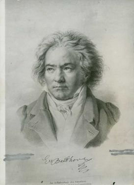 Portrait of Ludwig van Beethoven.