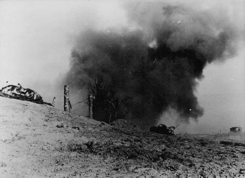 A bomb blast in Russia during war with Germany.  - 1941