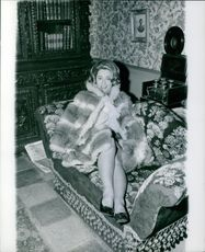 Ulla Jacobsson posing by the couch. 1968.
