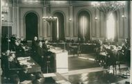 People in a board meeting on 08 October 1923. Primeminister of Norway Abraham Berge