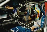 Swedish racing driver Rickard Rydell makes the final preparations for the Brand Hatch competition.