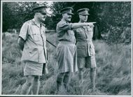 The surrender of Manakara. Brigadier W.A. Dimoline, O.B.E., M.C., Lt. Colonel Collins, commanding a Battalion of the Kings African Rifles, and Major General Smallwood, D.S.O., M.C., G.O.C., and Chief Military Administrator. 1942.