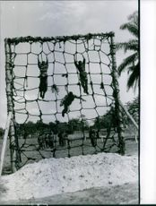 Soldiers doing physical activity on the camp, training. 1961