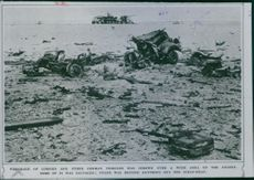 Wreckage of lorries and other German vehicles was strewn over a wide area of the desert, 1942.