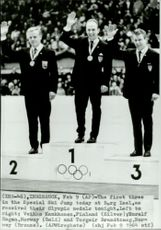 OS Innsbruck 1964 Jumping. Veikko Kankkonen, Finland (silver), Toralf Engan, Norway (gold) and Torgeir Brandtzaeg, Norway (bronze)