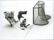Ice hockey player Ulf Sterner is heading to overshadow the Czech goalkeeper during the ice hockey match Sweden-CSSR during the Winter Olympics in Innsbruck in 1964