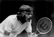 Ray Moore during the match against John Alexander in Wimbledon in 1969