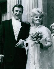 Susan Zanuck with her husband outside the church just after their marriage.
